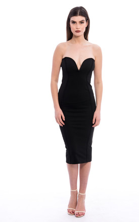 Boob Tube Midi Dress - Black by Npire London