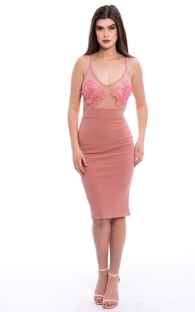Mesh Panel Embroidery Midi Dress - Pink by Npire London
