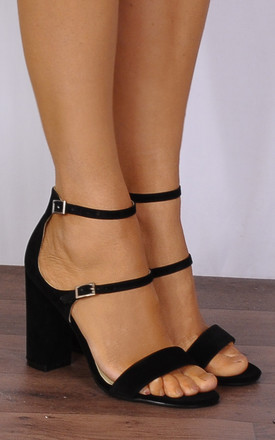 Black Barely There Ankle Strap Strappy Sandals High Heels by Shoe Closet