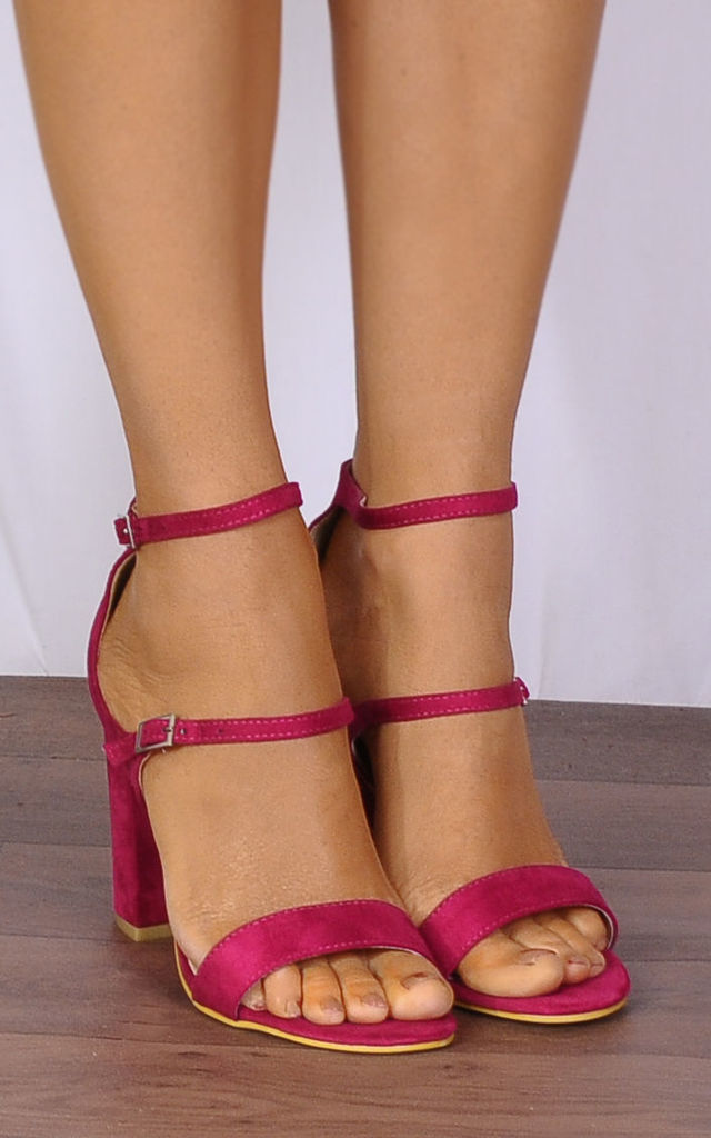 Fuchsia Pink Barely There Ankle Strap Strappy Sandals Hig