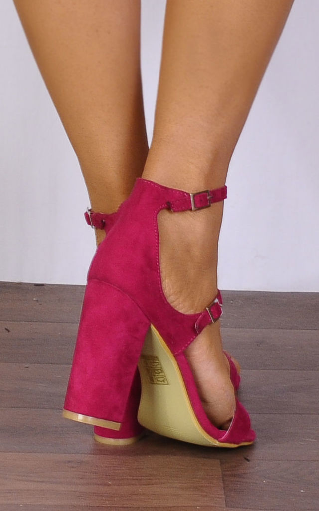 Fuchsia Pink Barely There Ankle Strap Strappy Sandals High Heels by Shoe Closet
