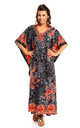 Oversized Maxi Kimono Kaftan Tunic Kaftan in Black by Looking Glam