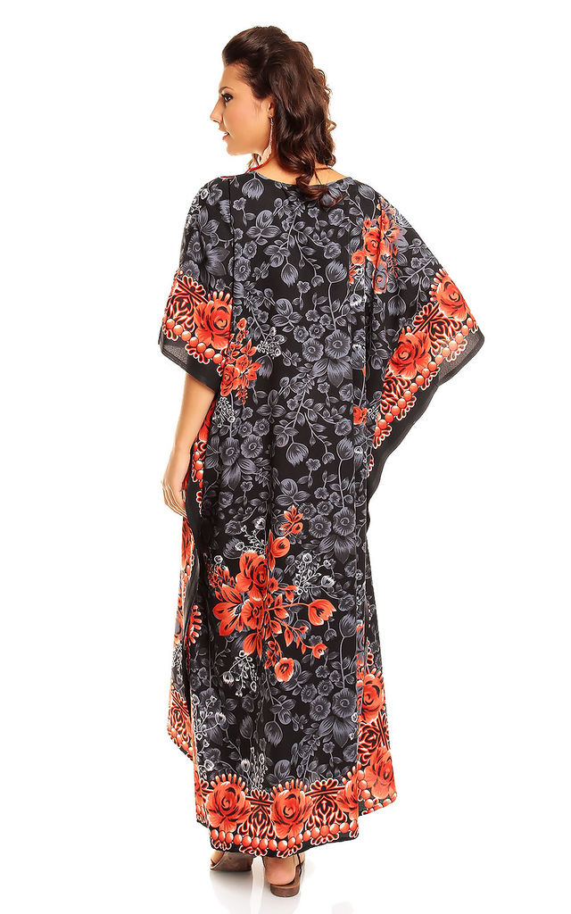 Ladies Oversized Maxi Kimono Kaftan Tunic Kaftan Dress Black by Looking Glam