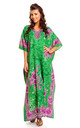 Ladies Oversized Maxi Kimono Kaftan Tunic Kaftan Dress Green by Looking Glam