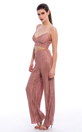 Pleated Bralette Palazzo Trouser Co-Ord Set - Nude by Npire London