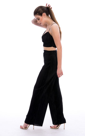 Pleated Bralette Palazzo Trouser Co-Ord Set Black by Npire London