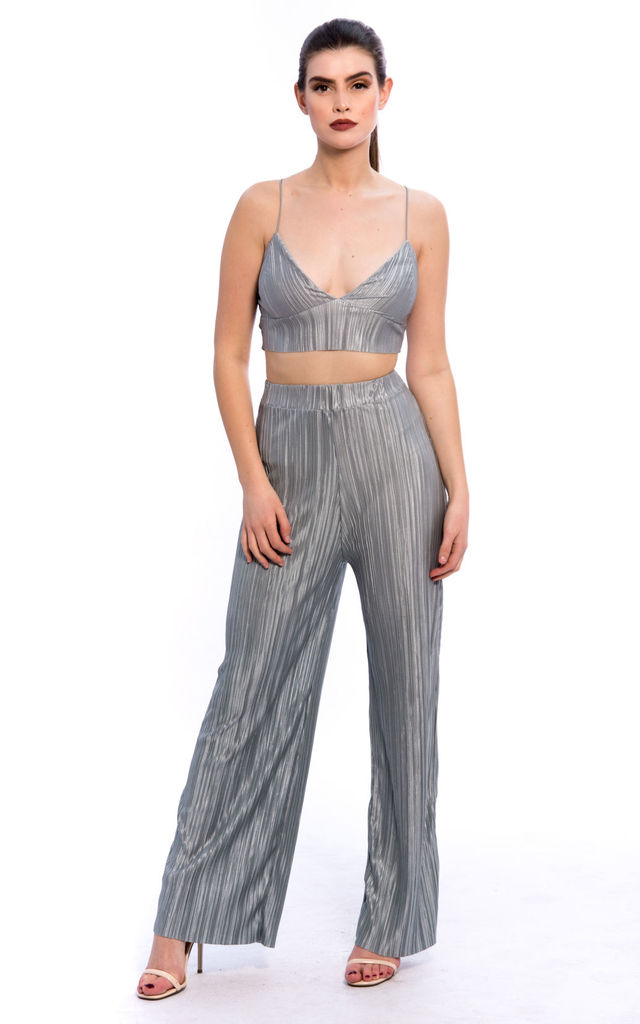 Pleated Bralette Palazzo Trouser Co-Ord Set Silver by Npire London