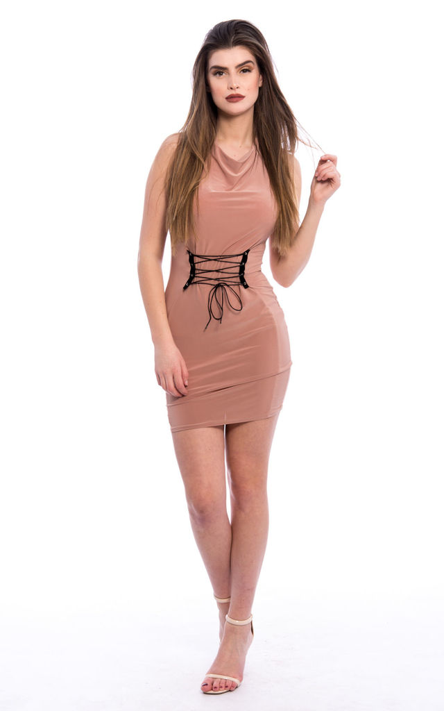 Lace Up Slinky Bodycon Dress - Nude by Npire London