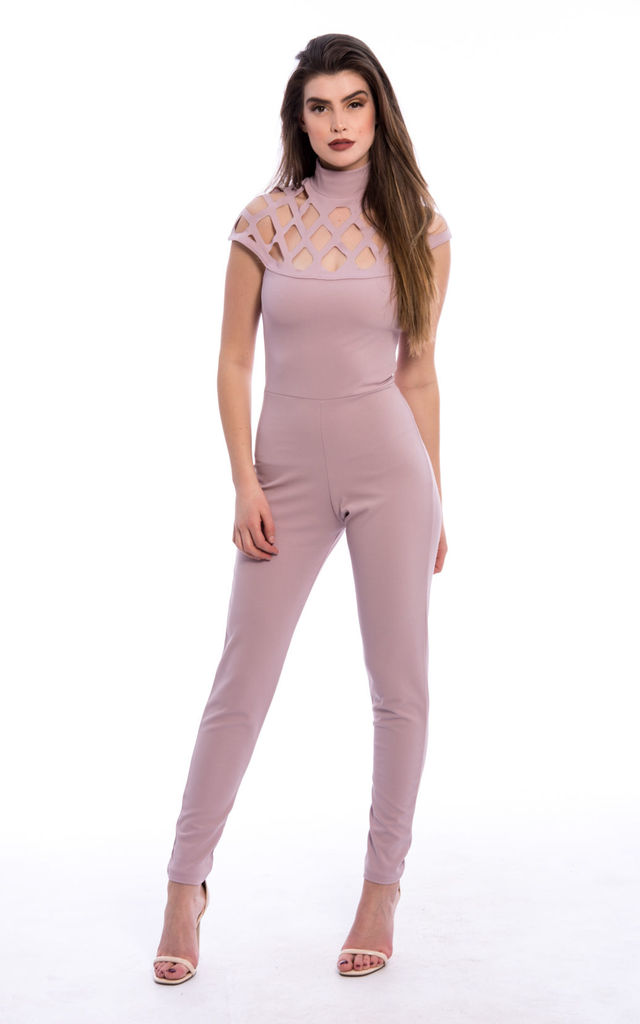 Laser Cut Cage Jumpsuit - Blush Pink by Npire London