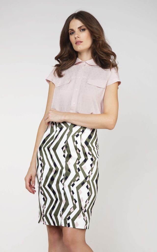 Pencil Skirt in Black/White Print by Conquista Fashion