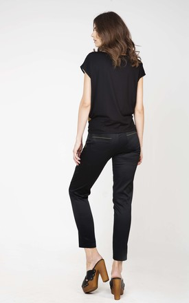 Stitch Detail Trousers in Black by Conquista Fashion