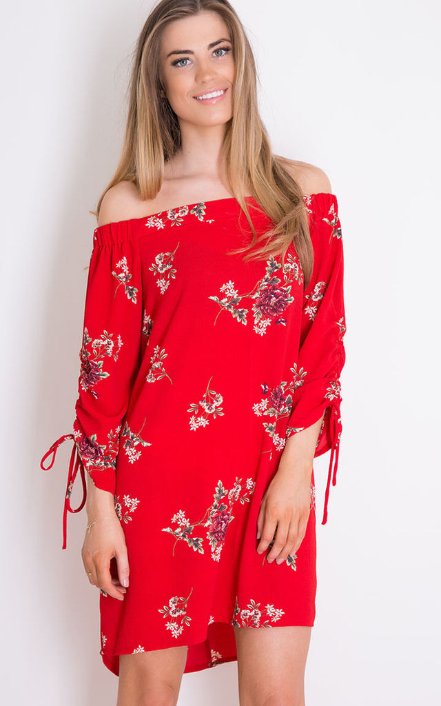 Lacey Bardot Floral Swing Dress Red by Girl In Mind