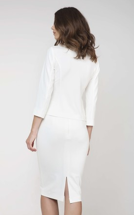 Stretch Pencil Skirt in White by Conquista Fashion