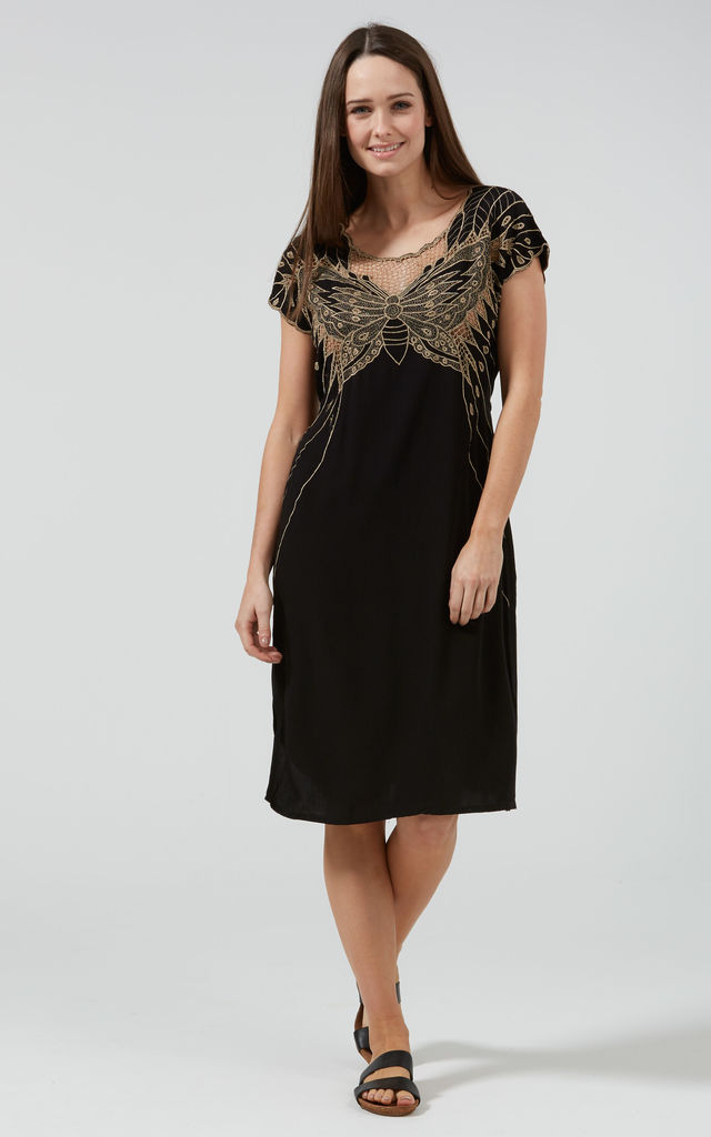 Butterfly cutwork embroidered dress silkfred