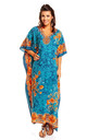 Ladies Oversized Maxi Kimono Kaftan Tunic Kaftan Dress Teal by Looking Glam