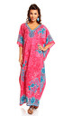 Ladies Oversized Maxi Kimono Kaftan Tunic Kaftan Dress Pink by Looking Glam