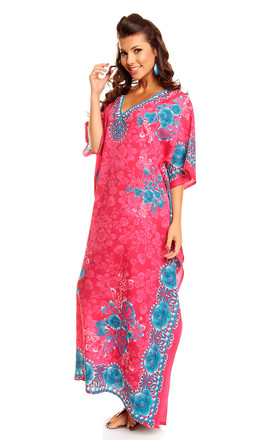Oversized Maxi Kimono Kaftan Tunic Dress in Pink by Looking Glam