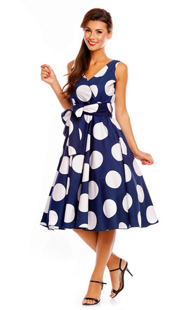 Retro Vintage Polka Dot 1950's Swing Pin Up Dress by Looking Glam