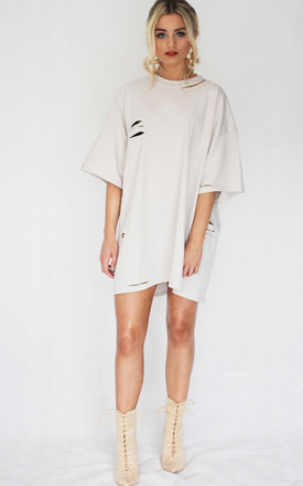 CLAY RIPPED T-SHIRT DRESS by Cats got the Cream