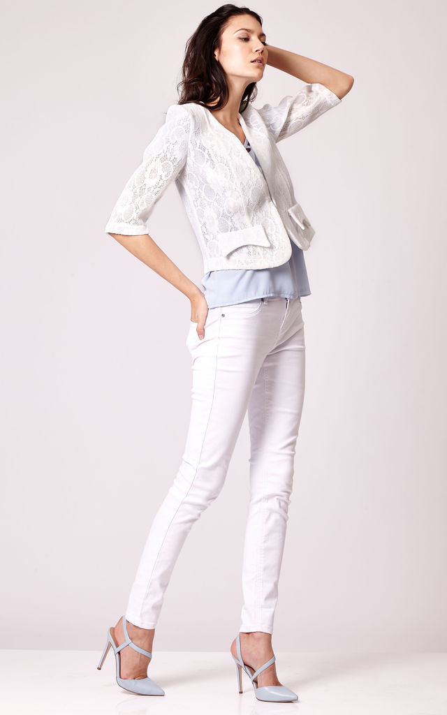 Cutie Tailored Cropped Lace Blazer by Cutie London