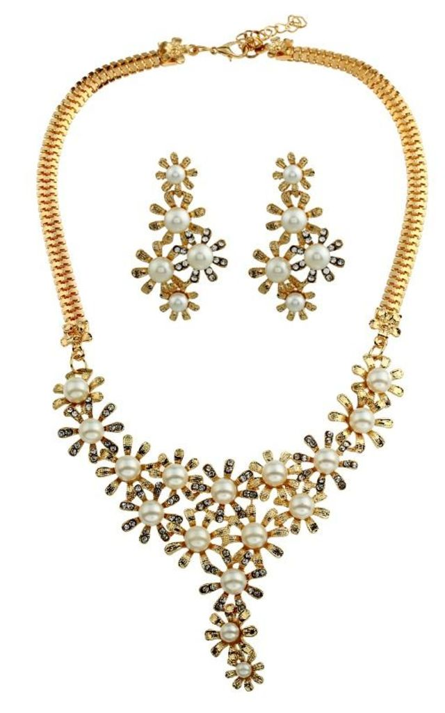 Vintage Gold Pearl Necklace & Earrings Set by Emi Jewellery