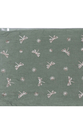 Green Embroidered Dragonfly Scarf by Ruby Rocks Accessories