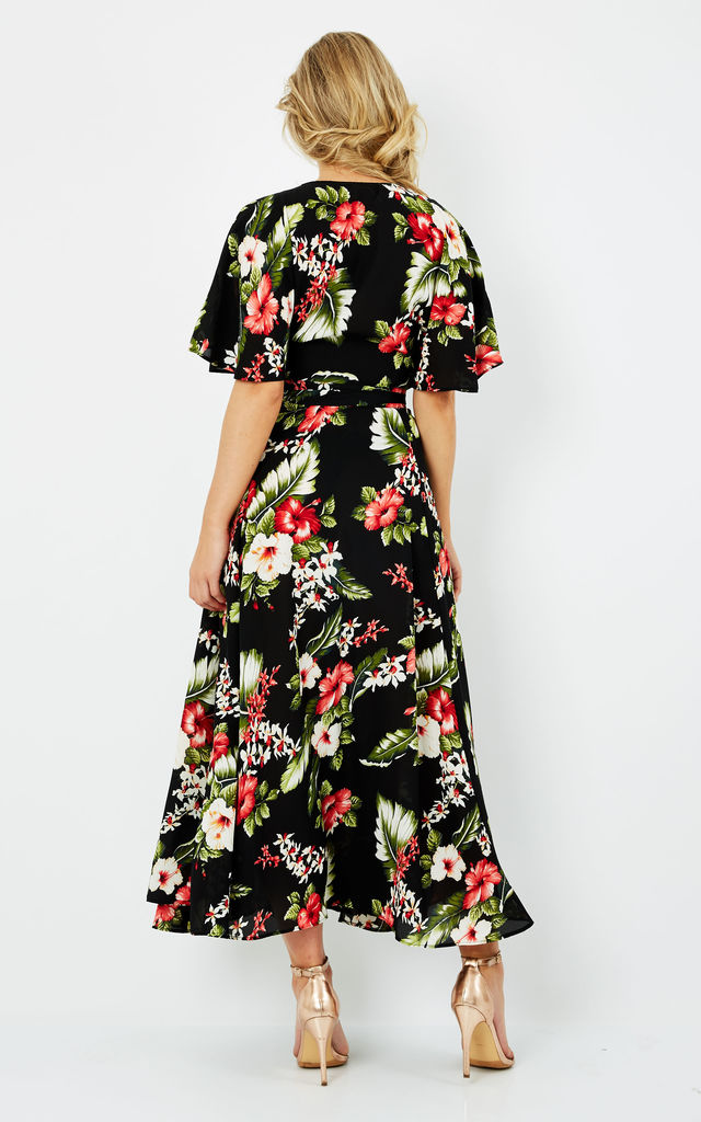 Erin Wrap-Effect Floral-Print Maxi Dress in Black by Frontrow Limited