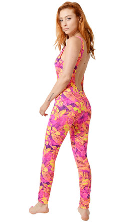 Coral Tropical Print Catsuit by Tirade 13