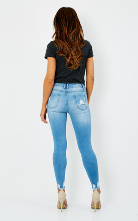 Willow Super Skinny Knee Rip Jeans in Blue by love frontrow