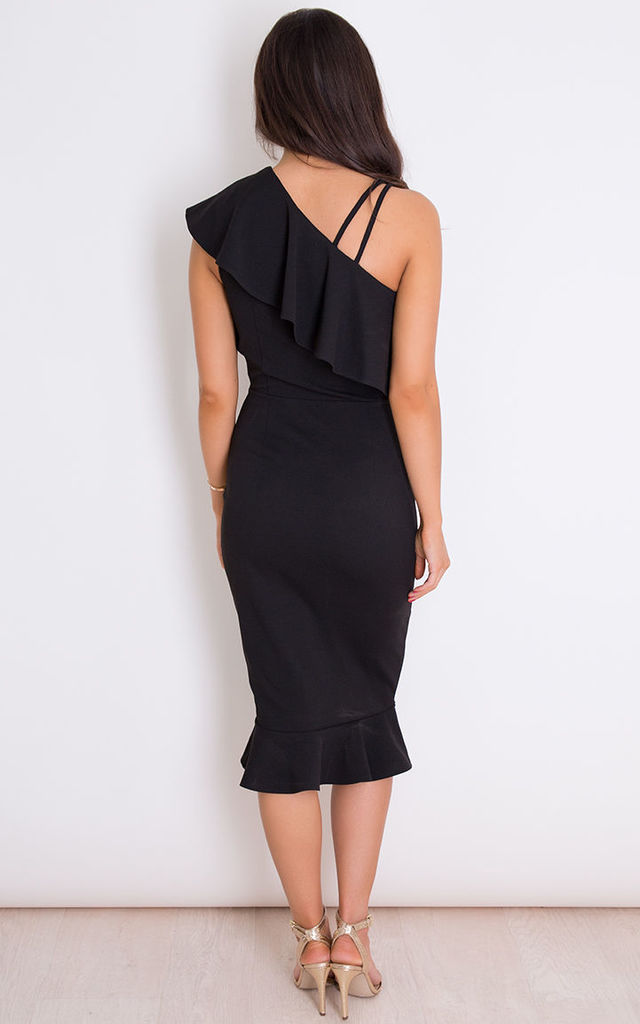 Emily One Shoulder Frill Midi Dress Black by Girl In Mind