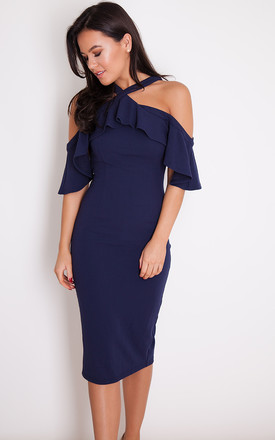 Holly Halterneck Frill Cold Shoulder Midi Dress Navy by Girl In Mind Product photo