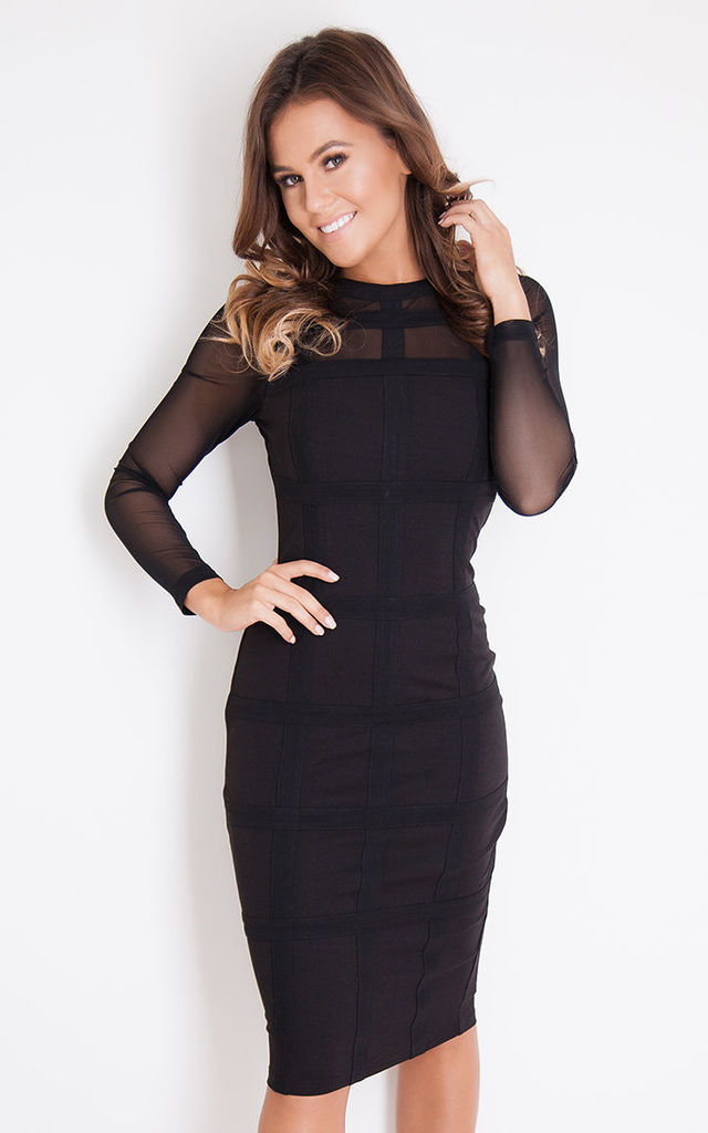 Lily Grid Long Sleeve Bodycon Dress Black by Girl In Mind c328f8d3f