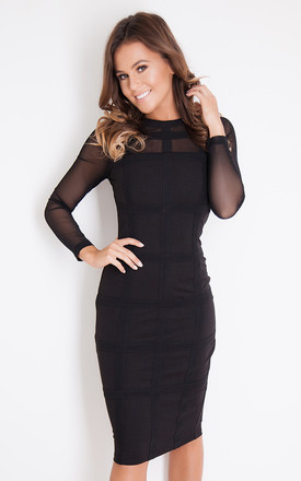 Lily Grid Long Sleeve Bodycon Dress Black by Girl In Mind Product photo