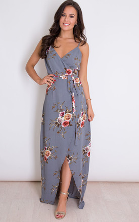 Mia Floral Wrap Maxi Grey by Girl In Mind Product photo