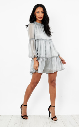 Grey High Neck Layered Frill Dress by Glamorous Product photo