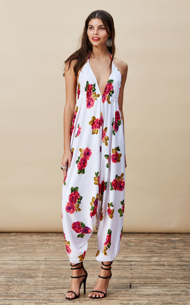 Genie Jumpsuit in White Rose  image