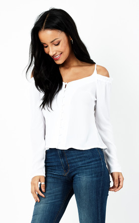 White Cold Shoulder Top by Glamorous