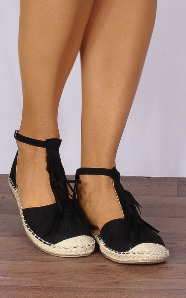 Black Flat Espadrilles Sandals Shoes by Shoe Closet
