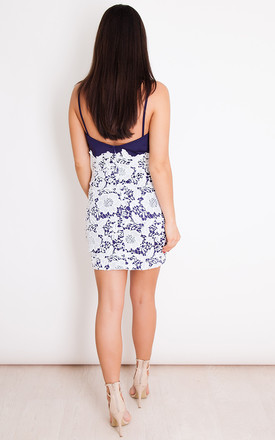 Tammy Mini Navy Lace Low Back Dress by Girl In Mind