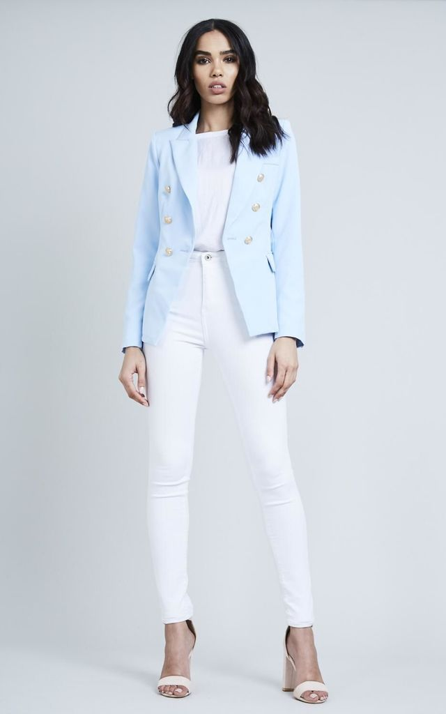 Baby Blue Double Breasted Gold Button Blazer by London End