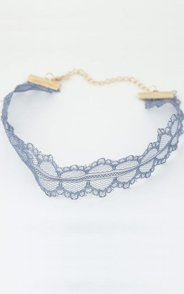 Baby Blue Lace Choker by HAUS OF DECK