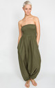 Harem Jumpsuit And Hareem Pants Cotton 2 In 1 Olive Green by likemary