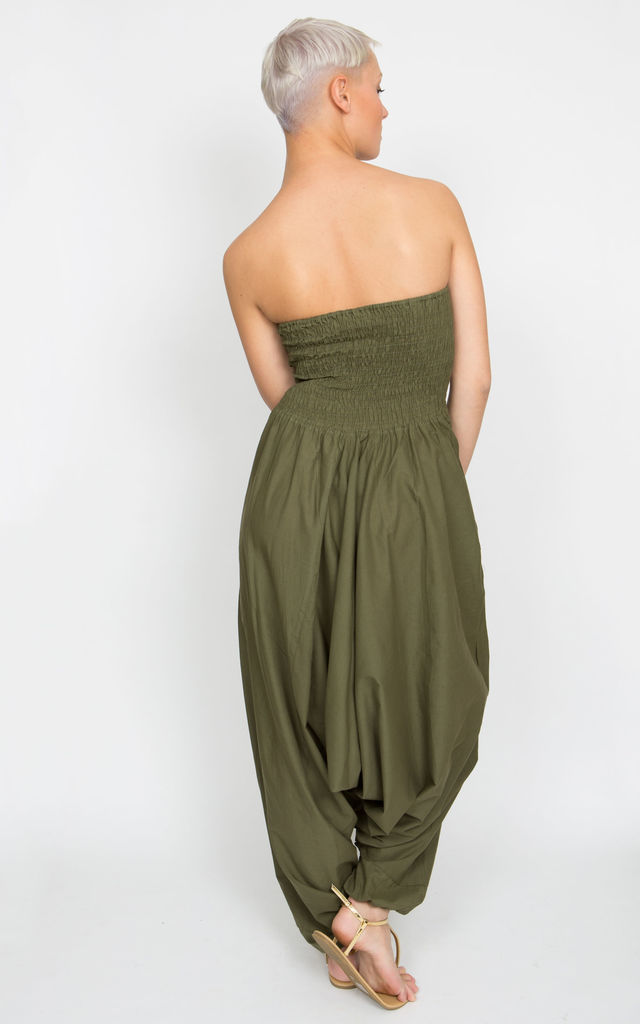 2 In 1 Cotton Maxi Harem Trouser Jumpsuit Olive by likemary