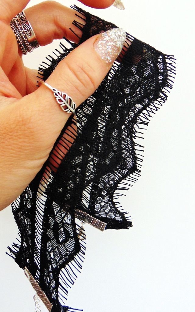Boudoir Eyelash Lace Thick Black Choker by Wanderdusk
