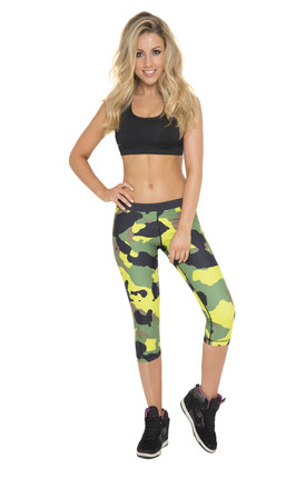 Lime Camo Cropped Leggings by AMiCAFOX
