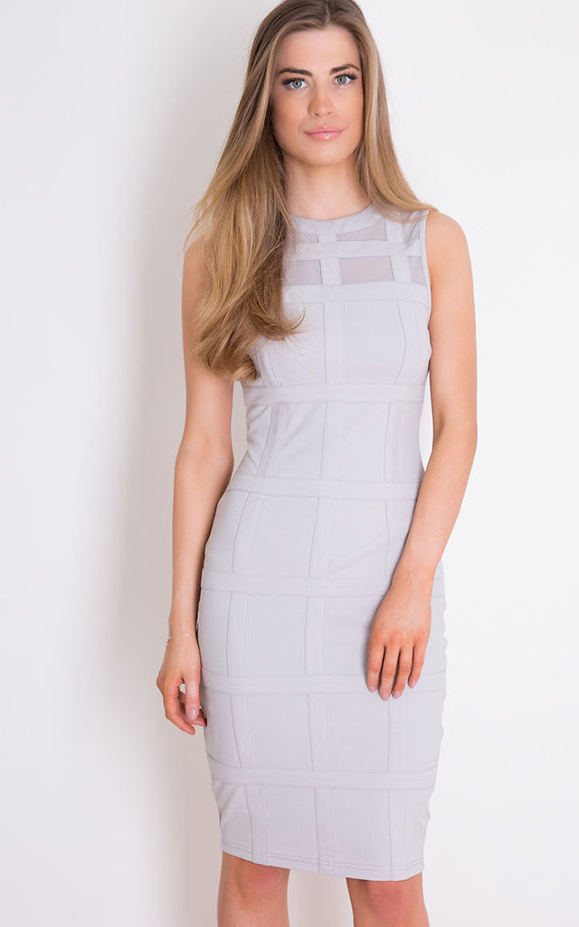 Lily Sleeveless Grid Bodycon Dress Grey by Girl In Mind