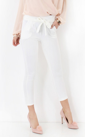 Prini White Tie Waist Paperbag Trousers by The Fashion Bible