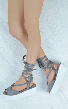 Lace Up Chunky Wedges - Grey Faux Suede by AJ | VOYAGE