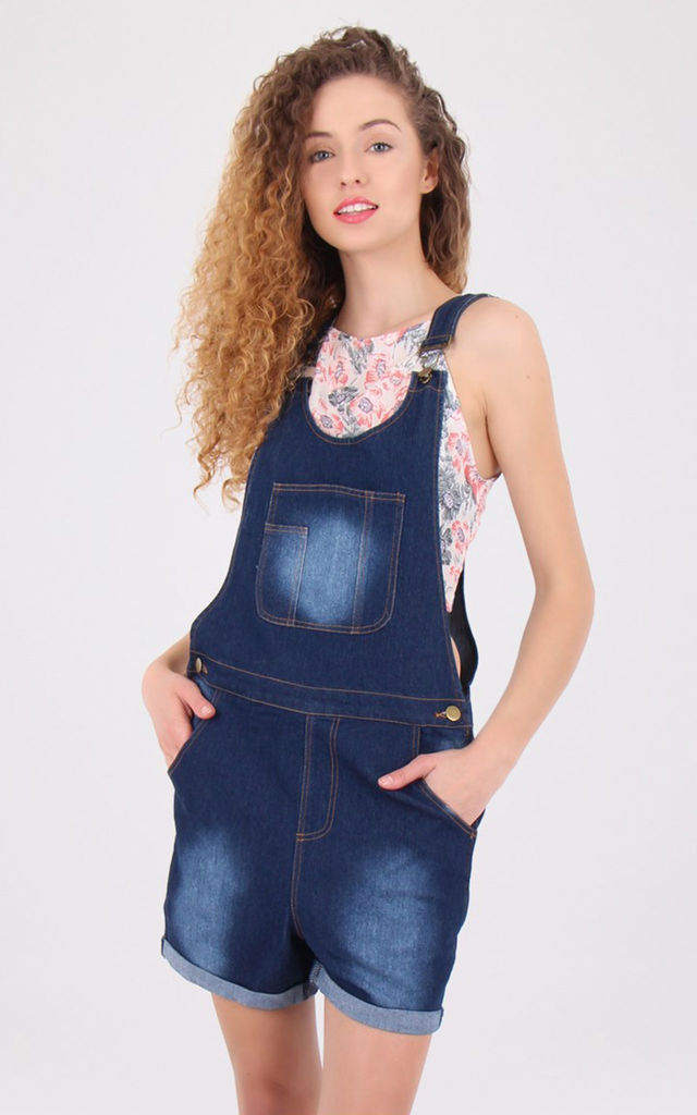 Front Pocket Blue Wash Denim Dungaree Play suit by MISSTRUTH