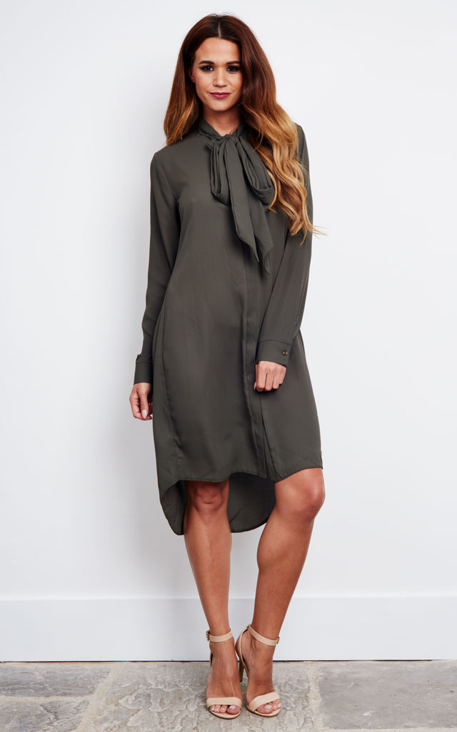 HETTY - Khaki Pussybow Shirt Dress by Blue Vanilla